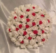 ARTIFICIAL RED IVORY FOAM ROSE BUDS WEDDING FLOWERS BRIDES BOUQUET DIAMANTES